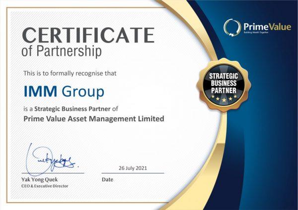 Từ tháng 01/2020 IMM Group là đối tác chiến lược với Prime Value - Tập đoàn quản lý Quỹ đầu tư danh tiếng của Úc