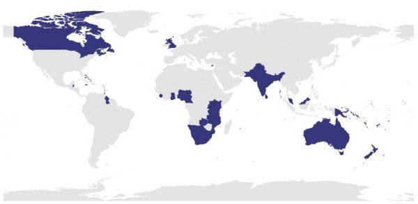 Các quốc gia Khối Thịnh Vượng Chung (CommonWealth) chiếm 1/3 diện tích thế giới (nguồn: https://thecommonwealth.org/).